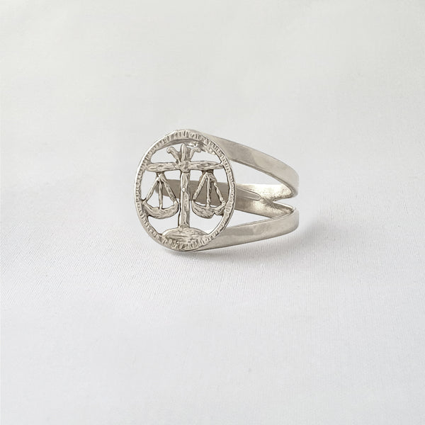 Star Signs Libra Ring Silver Side