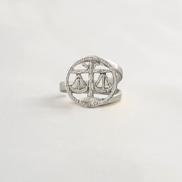Star Signs Libra Ring Silver