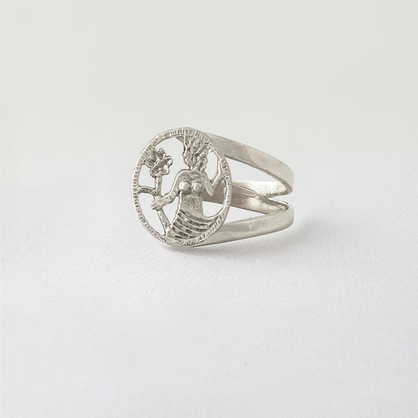 Star Signs Virgo Ring Silver Side