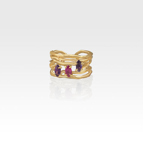 Twiglet Amethyst Ruby Ring