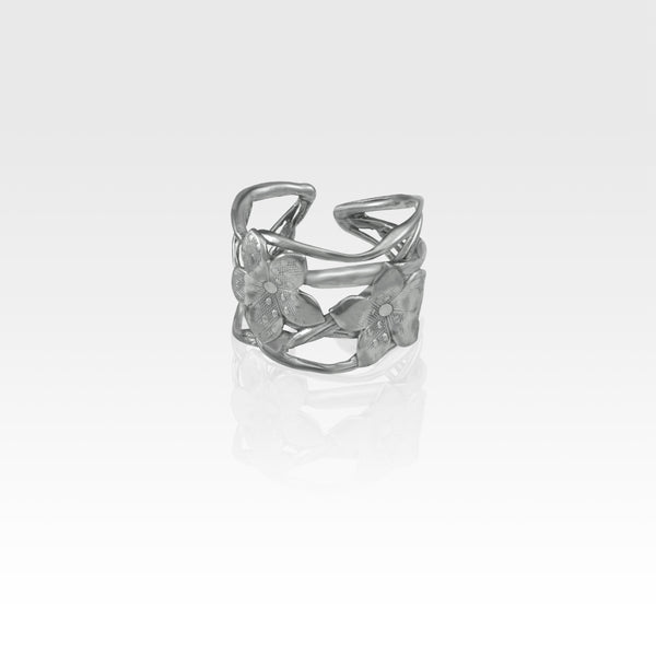 Twiglet Flower Ring Silver