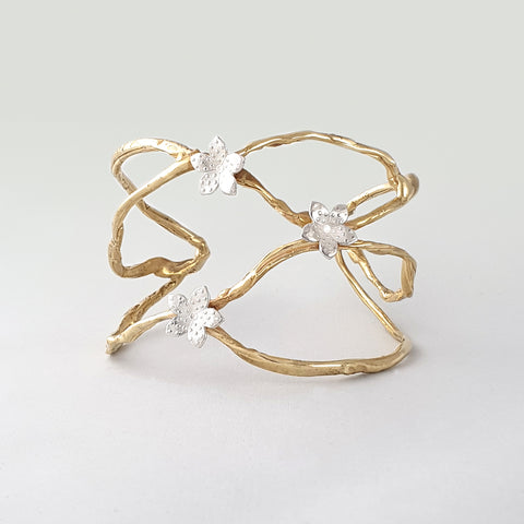Twiglet Flower Two Tone Cuff