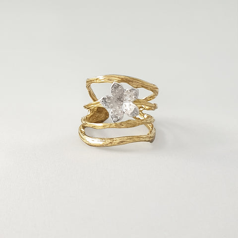 Twiglet Flower Two Tone Ring Limited Edition 2