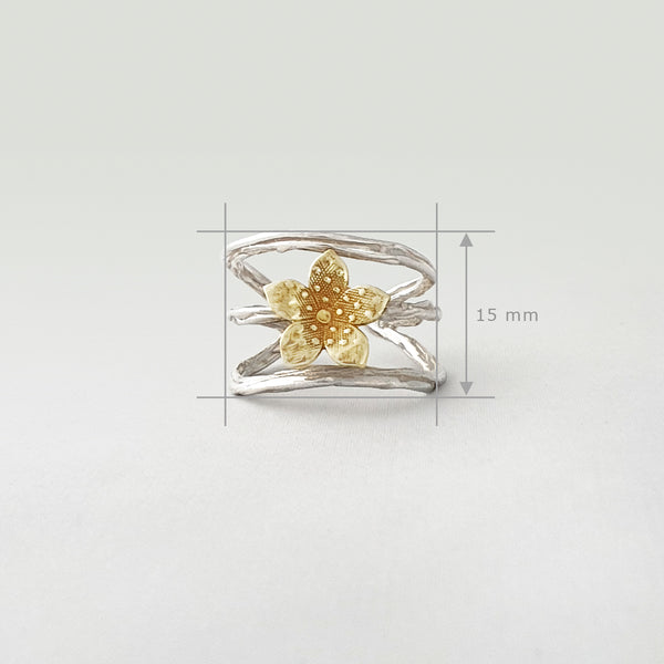 Twiglet Flower Two Tone Silver Ring Measurements