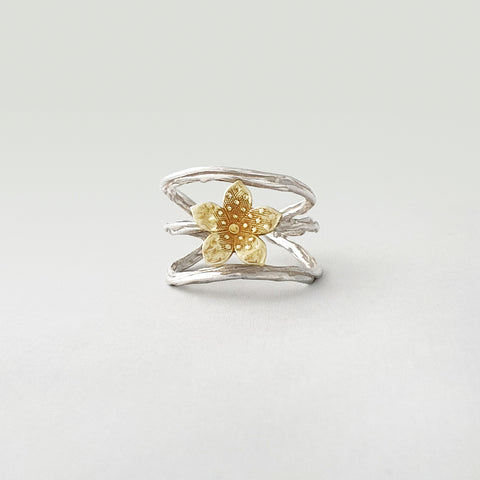 Twiglet Flower Two Tone Silver Ring