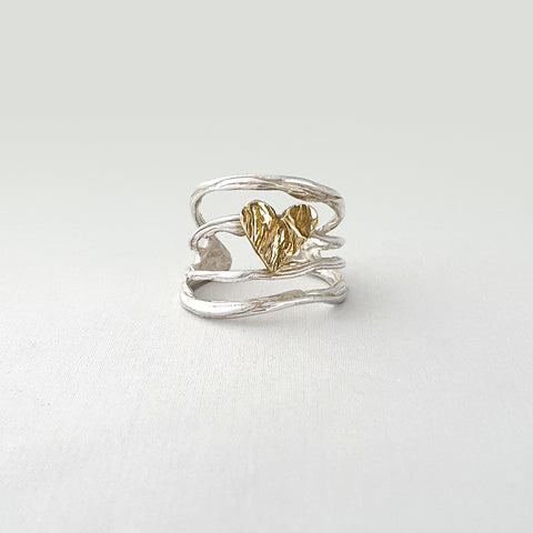 Twiglet Heart Two Tone Ring Silver