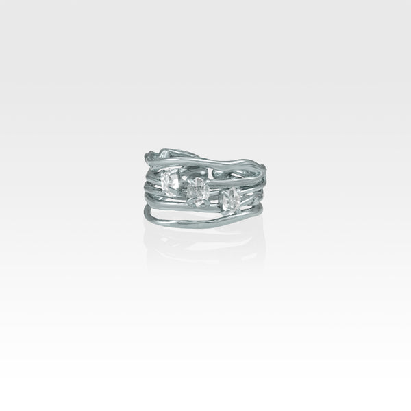 Twiglet Himalayan Diamond Ring Silver