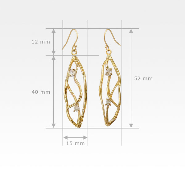 Twiglet Himalayan Diamond Earrings Measurements