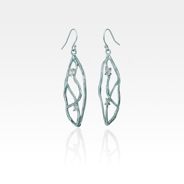 Twiglet Himalayan Diamond Earrings Silver