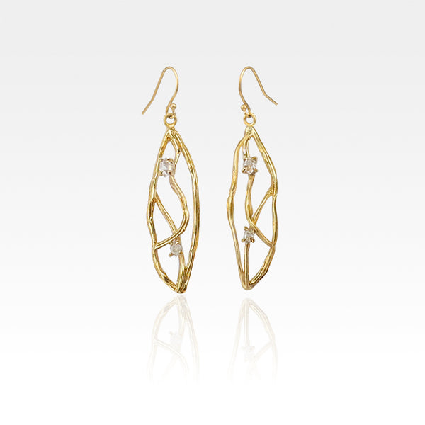 Twiglet Himalayan Diamond Earrings