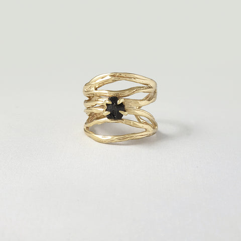 Twiglet Raw Black Tourmaline Ring