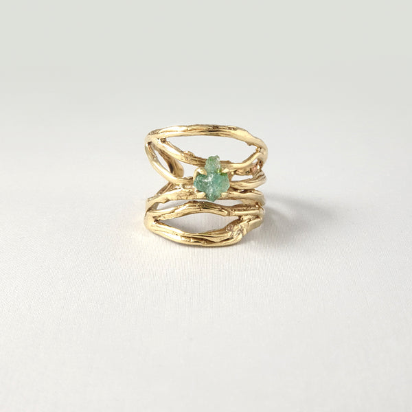 Twiglet Raw Emerald Ring