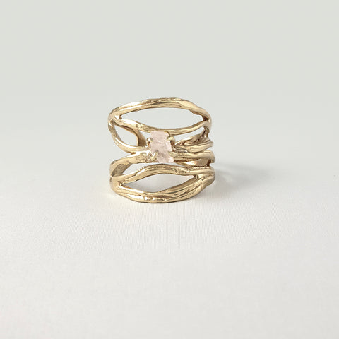 Twiglet Raw Rose Quartz Ring