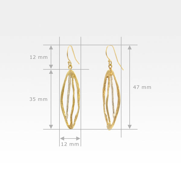 Twiglet Two Tone Earrings Measurements