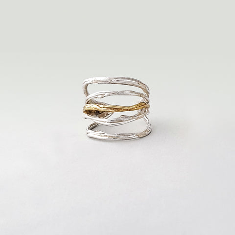 Twiglet Two Tone Ring Silver
