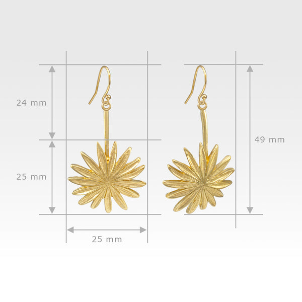 Vintage Flower Earrings Measurements