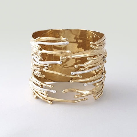 Waterfall Two Tone Cuff Bracelet