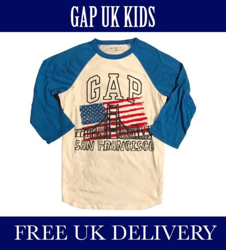 3b21450be8c1 BNWT GAP KIDS UK BOYS ACADEMY BLUE T-SHIRT WH. UK SELLER. FREE ...
