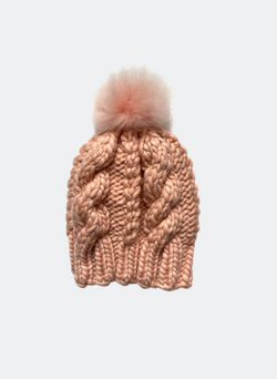 Ready Made: The Fenway - Cable Beanie in Peach with Alpaca Pom Pom