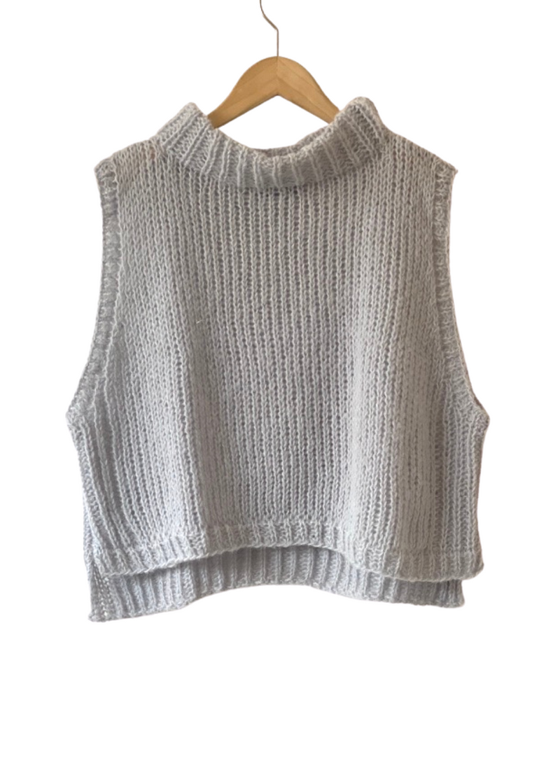 SALE: Cropped Sweater Vest - Dove Grey in L/XL