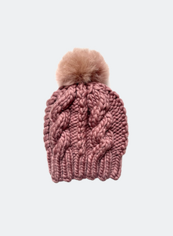 Ready Made: The Fenway - Cable Beanie in Chai with Alpaca Pom Pom