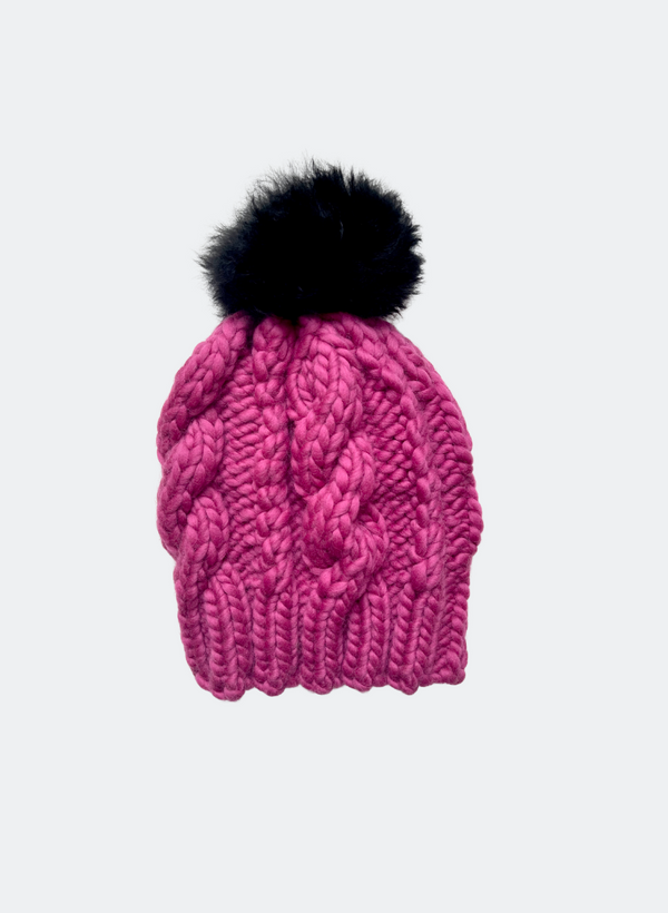 Ready Made: The Fenway - Cable Beanie in Azalea with Alpaca Caviar Pom Pom