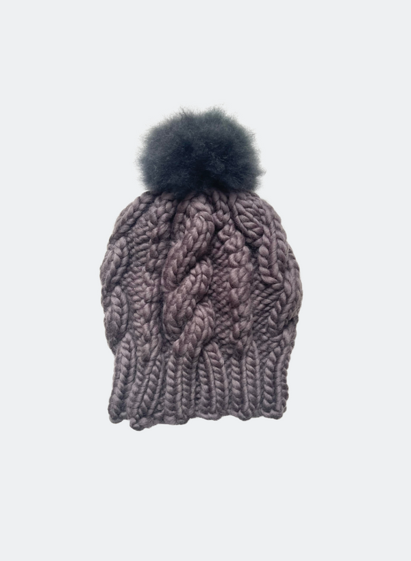 Ready Made: The Fenway - Cable Beanie in Pebble with Alpaca Pom Pom