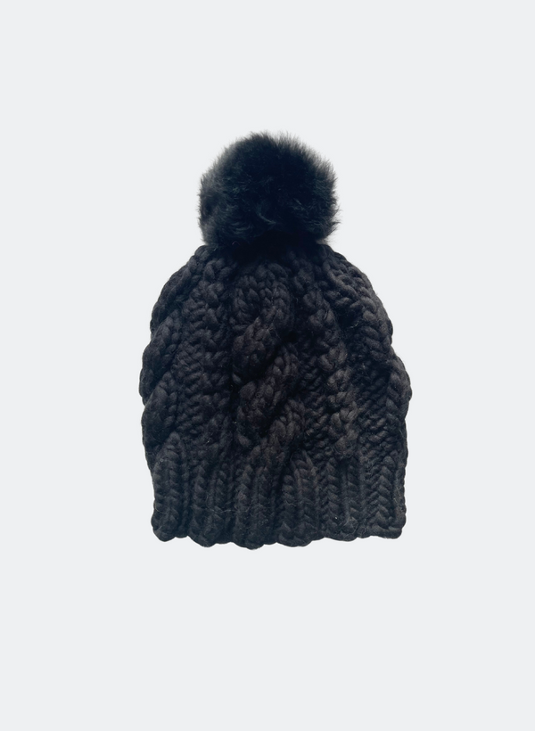 Ready Made: The Fenway - Cable Beanie in Caviar with Alpaca Pom Pom