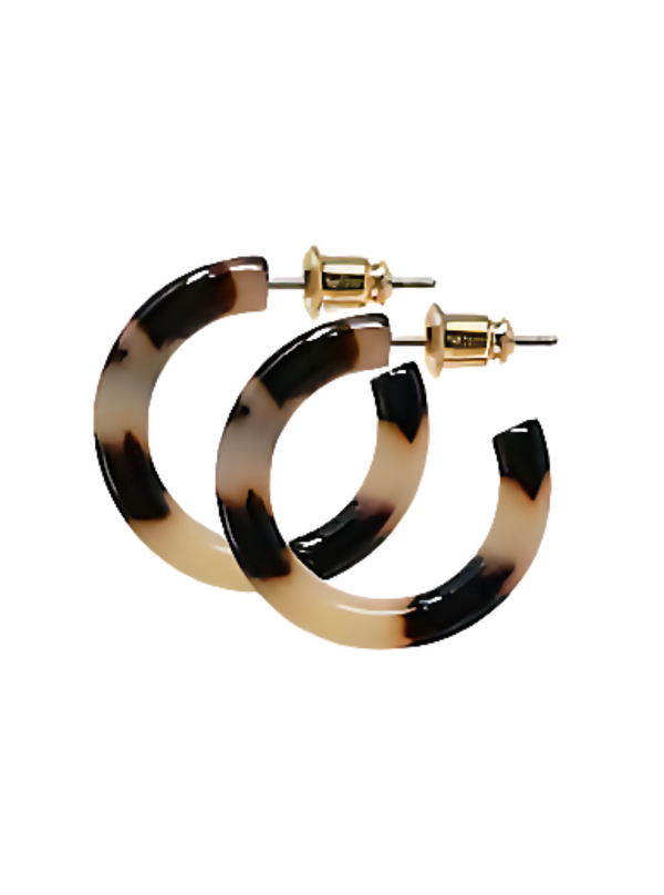 Earrings - Ultra Mini Hoops in Blonde Tortoise