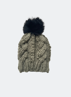 Ready Made: The Fenway - Cable Beanie in Thyme with Caviar Alpaca Pom Pom
