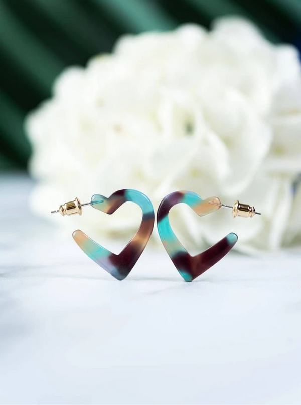 Earrings - Mini Heart Hoops in Jasmine