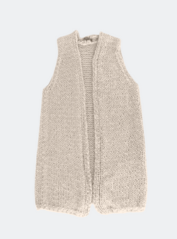 Ready Made: The Sara - Hand-Knit Duster Vest In Latte (2 Sizes)