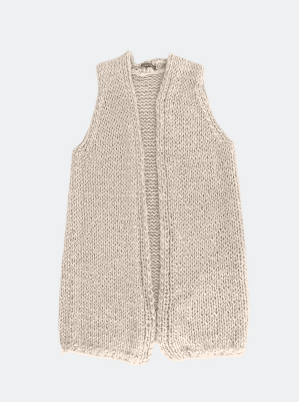 Ready Made: The Sara - Hand-Knit Duster Vest In Latte