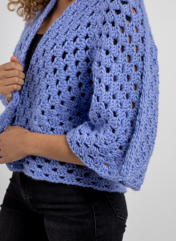 The Parker - Crochet Cardigan In Merino - Knit Kit