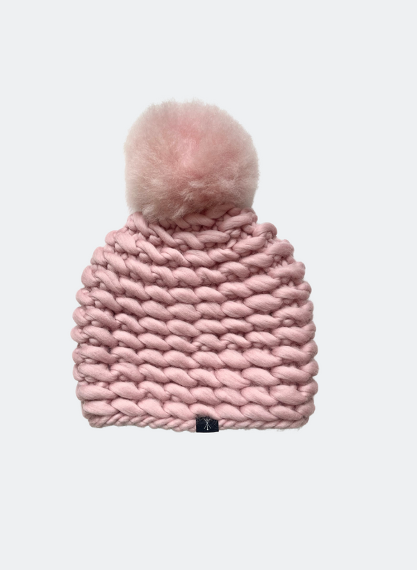 Ready Made: The Noho - Fitted Beanie in Vintage Rose with Alpaca Pom Pom