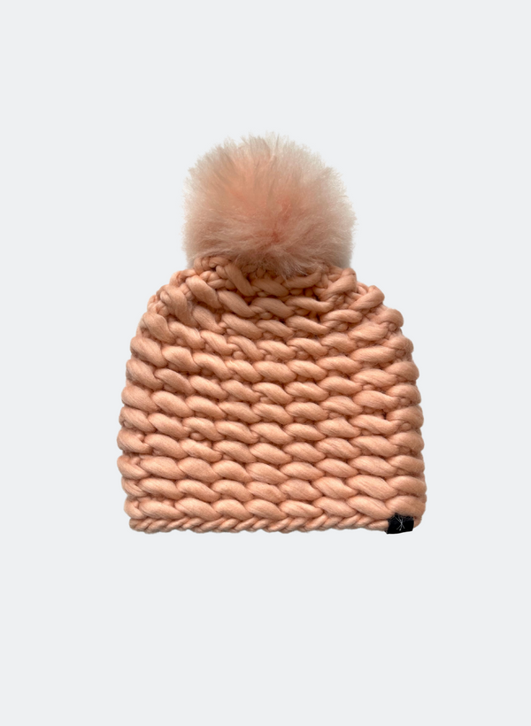 SALE: The Noho - Fitted Beanie in Peach with Alpaca Pom Pom