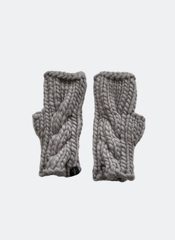 SALE: The Beacon Mitts - Fingerless Cabled Mitt In Charcoal