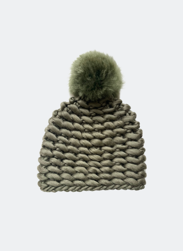 Ready Made: The Noho - Fitted Beanie in Thyme with Alpaca Pom Pom