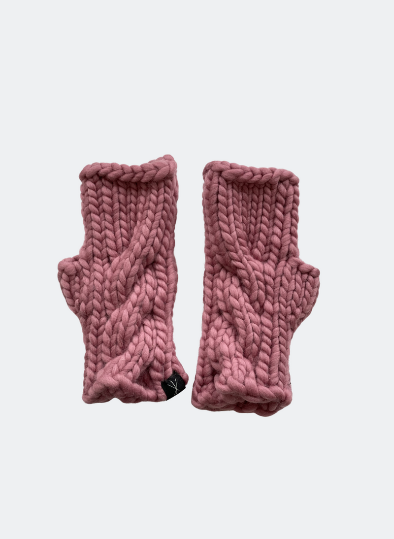 SALE: The Beacon Mitts - Fingerless Cabled Mitt In Rosette