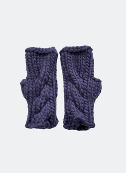 SALE: The Beacon Mitts - Fingerless Cabled Mitt In Navy