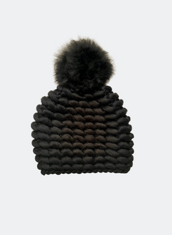 Ready Made: The Noho - Fitted Beanie in Caviar with Alpaca Pom Pom