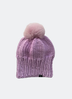 SALE: The Kendall - Slouchy Beanie With Alpaca Pom Pom in Orchid
