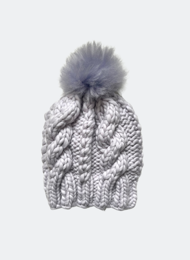 Ready Made: The Fenway - Cable Beanie in Moonlight with Alpaca Pom Pom