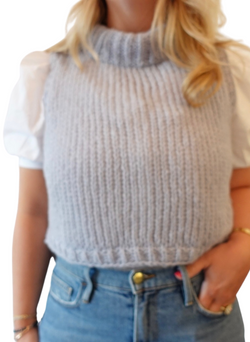 SALE: Cropped Sweater Vest - Dove Grey