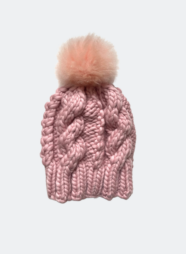 Ready Made: The Fenway - Cable Beanie in Vintage Rose with Alpaca Pom Pom