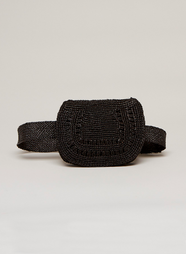 SALE: Alix Belt Bag  - Raffia Flap Pocket