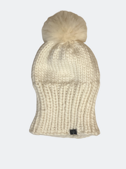 SALE: The Kendall - Slouchy Beanie With Alpaca Pom Pom in Sugar
