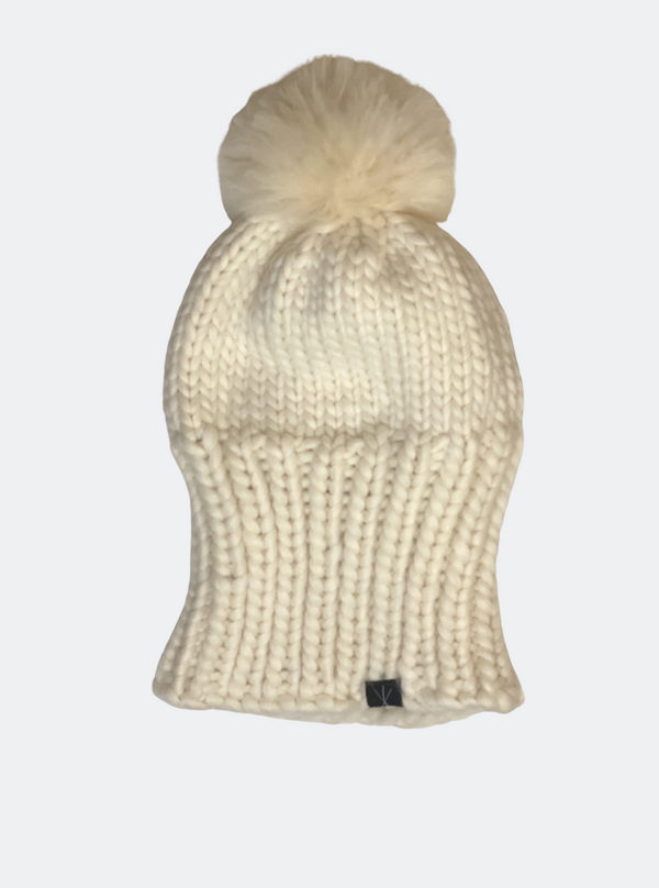 Ready Made: The Kendall - Slouchy Beanie With Alpaca Pom Pom in Sugar