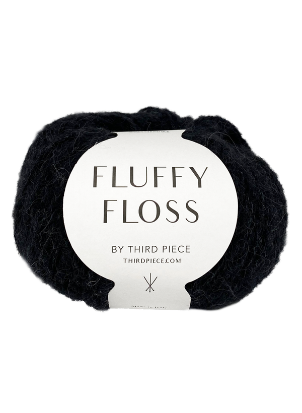 Fluffy Floss - Licorice - Italian Alpaca, Merino, Silk Blend
