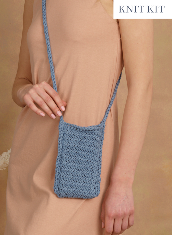 Knit Kit: The Asbury,Herringbone iPhone Crossbody Bag - Intermediate Level
